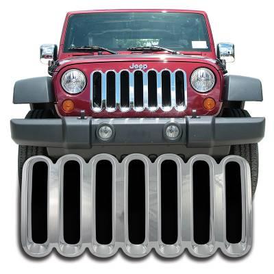 Jeep - Wrangler - CCI - 2007-2018 JEEP WRANGLER JK CHROME GRILLE COVER OVERLAY