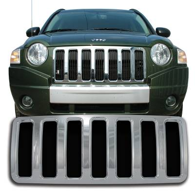 Jeep - Compass - CCI - 2007-2010 JEEP COMPASS CHROME GRILLE OVERLAY COVER