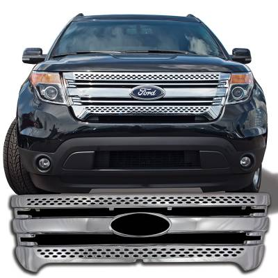 Ford - Explorer - CCI - 2011-2015 FORD ESCAPE CHROME GRILLE OVERLAY COVER