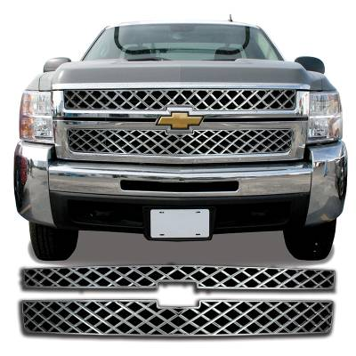 Chevrolet - Silverado 2500 - CCI - 2011-2014 CHEVROLET SILVERADO 2500 / 3500 CHROME GRILLE COVER OVERLAY